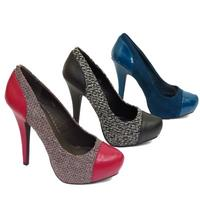 View Item LADIES RED BLACK OR TEAL PLATFORM STILETTO WOMENS TWEED COURT SHOES SIZES 3-8